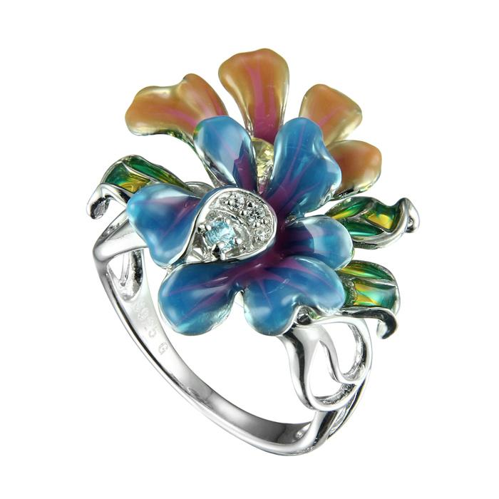 Серебряное кольцо Фианит и Эмаль арт. sr1452-zlaq-1 sr1452-zlaq-1
