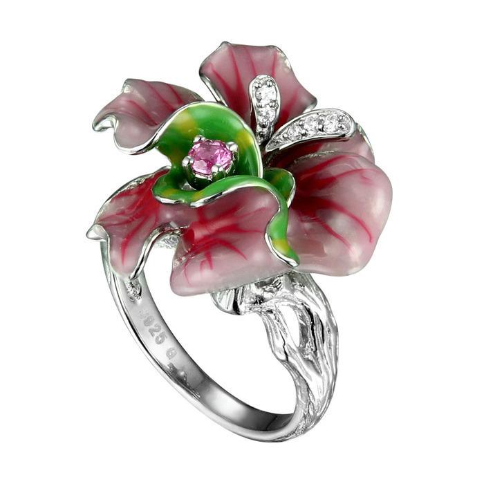 Серебряное кольцо Фианит и Эмаль арт. sr1448-cp-1 sr1448-cp-1
