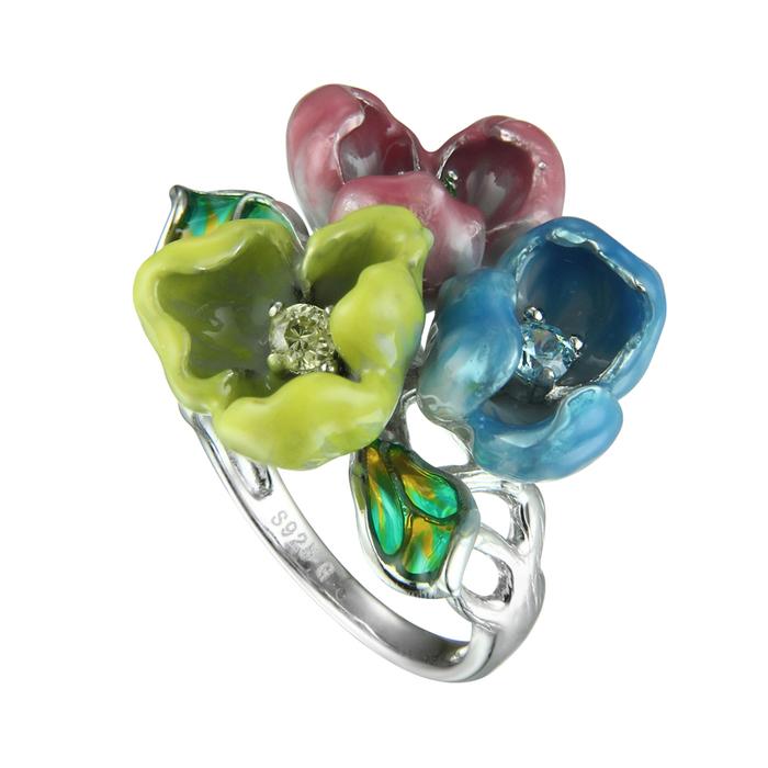 Серебряное кольцо Фианит и Эмаль арт. sr1451-mcz-1 sr1451-mcz-1