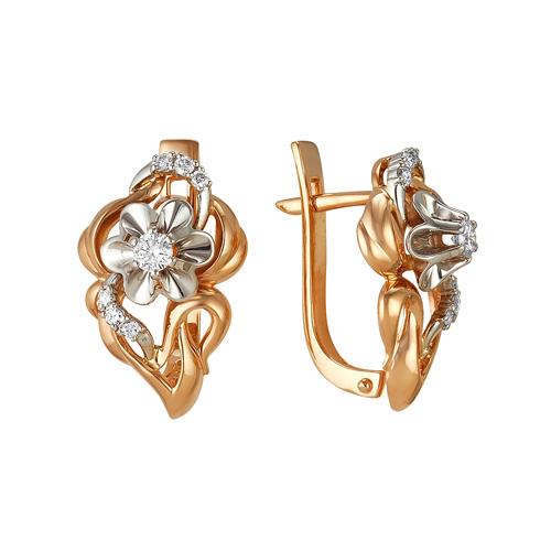 Золотые серьги с бриллиантом арт. 2-105-62 2-105-62