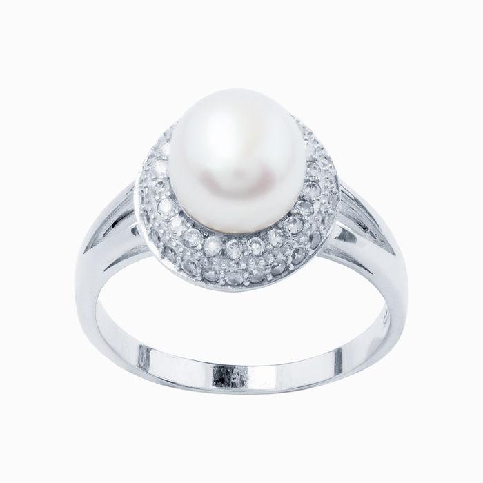 Серебряное кольцо Жемчуг и Фианит арт. 02958 02958