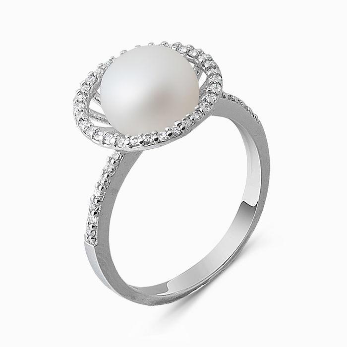 Серебряное кольцо Жемчуг и Фианит арт. 03307 03307