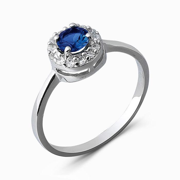 Серебряное кольцо Сапфир и Фианит арт. 05374 05374