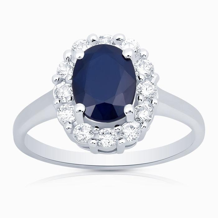 Серебряное кольцо Сапфир и Фианит арт. 05324 05324