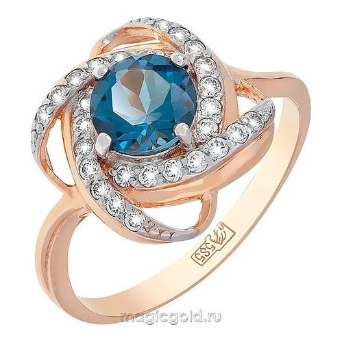 Золотое кольцо Топаз и Фианит арт. кл-354к-тл кл-354к-тл