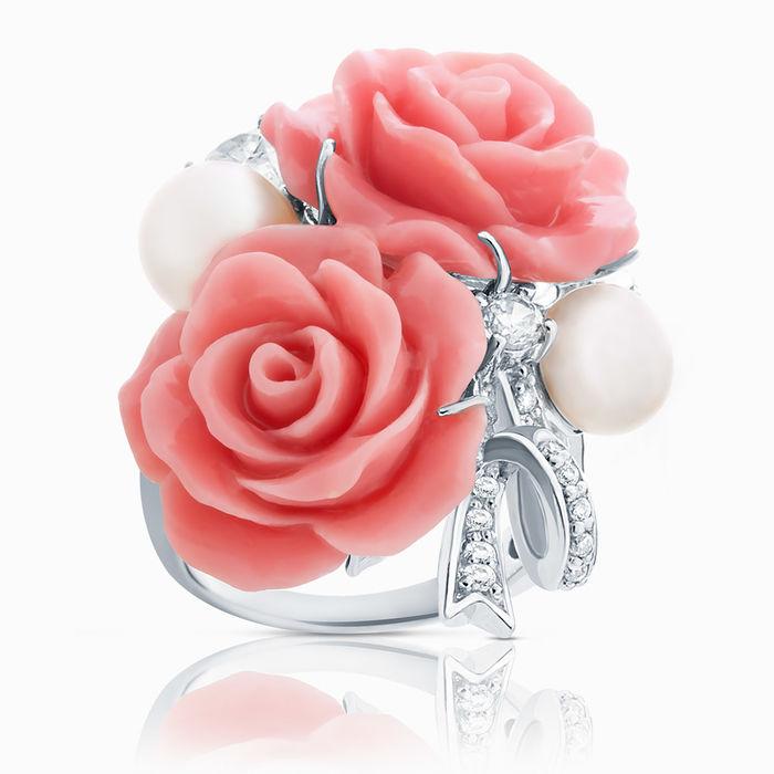 Серебряное кольцо Жемчуг, Коралл и Фианит арт. 03122 03122