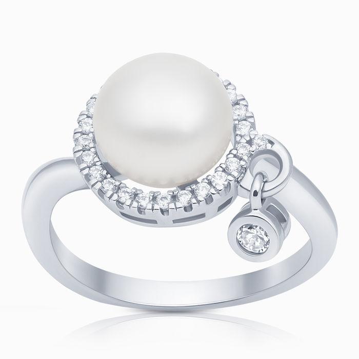 Серебряное кольцо Жемчуг и Фианит арт. 09809 09809