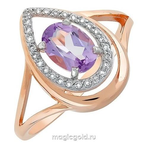 Золотое кольцо Аметист и Фианит арт. кл-504к-а кл-504к-а