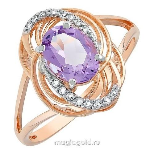 Золотое кольцо Аметист и Фианит арт. кл-516к-а кл-516к-а