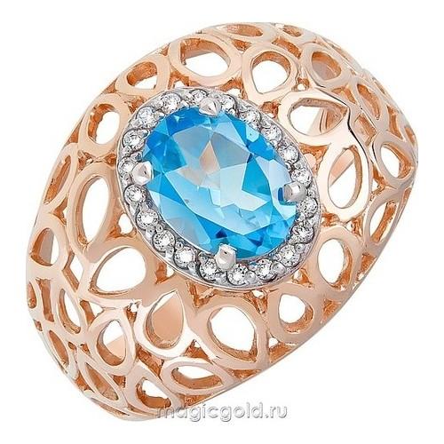 Золотое кольцо Топаз и Фианит арт. кл-528к-т кл-528к-т