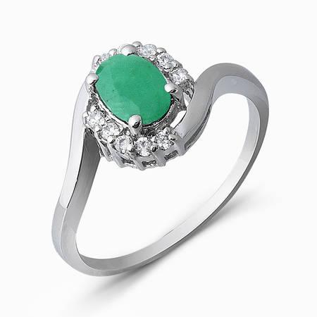 Серебряное кольцо Изумруд и Фианит арт. 05336 05336