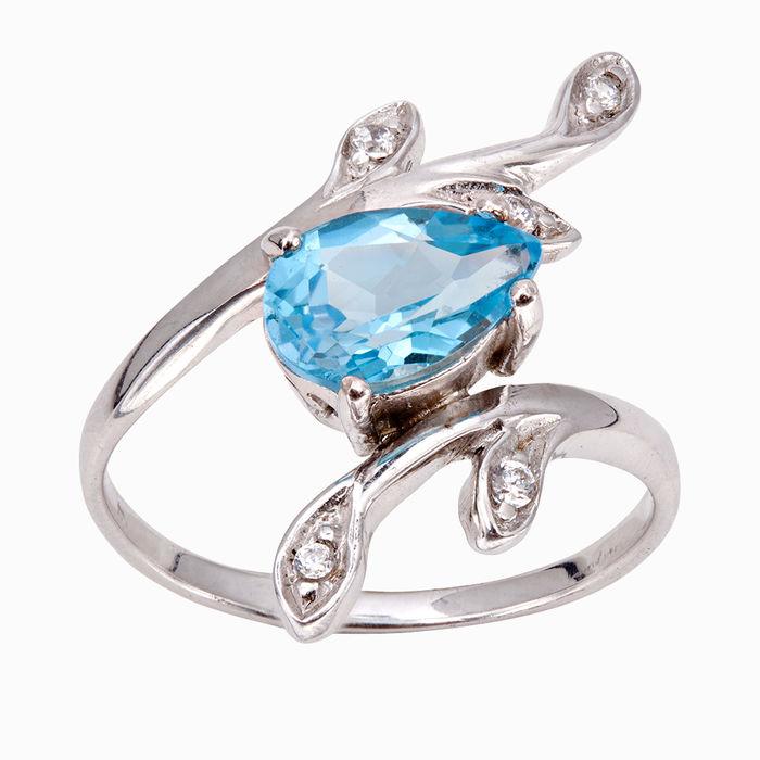 Серебряное кольцо Топаз и Фианит арт. 05059 05059