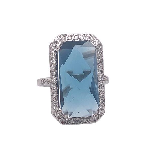 Кольцо из белого золота Бриллиант и Топаз арт. 81621757 81621757