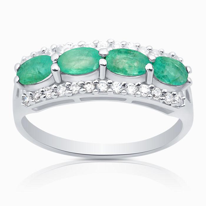 Серебряное кольцо Изумруд и Фианит арт. 04264 04264