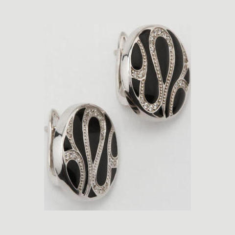 Серебряные серьги с цирконием и эмалью арт. 2ав0159204 2ав0159204