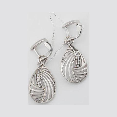 Серебряные серьги с цирконием арт. 2ав0159904 2ав0159904
