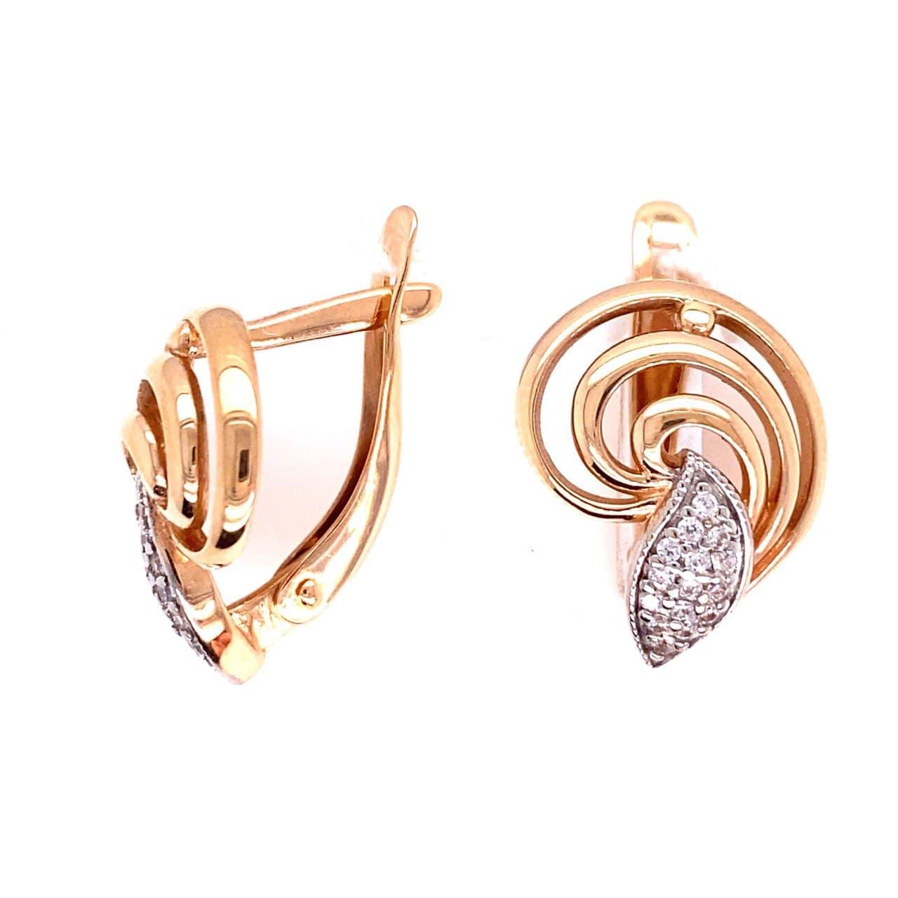 Золотые серьги с фианитом кам2-3935