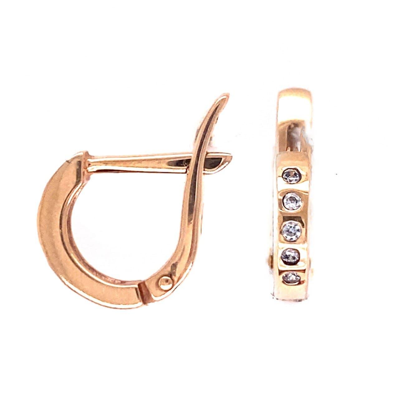 Золотые серьги с фианитом кам25010009
