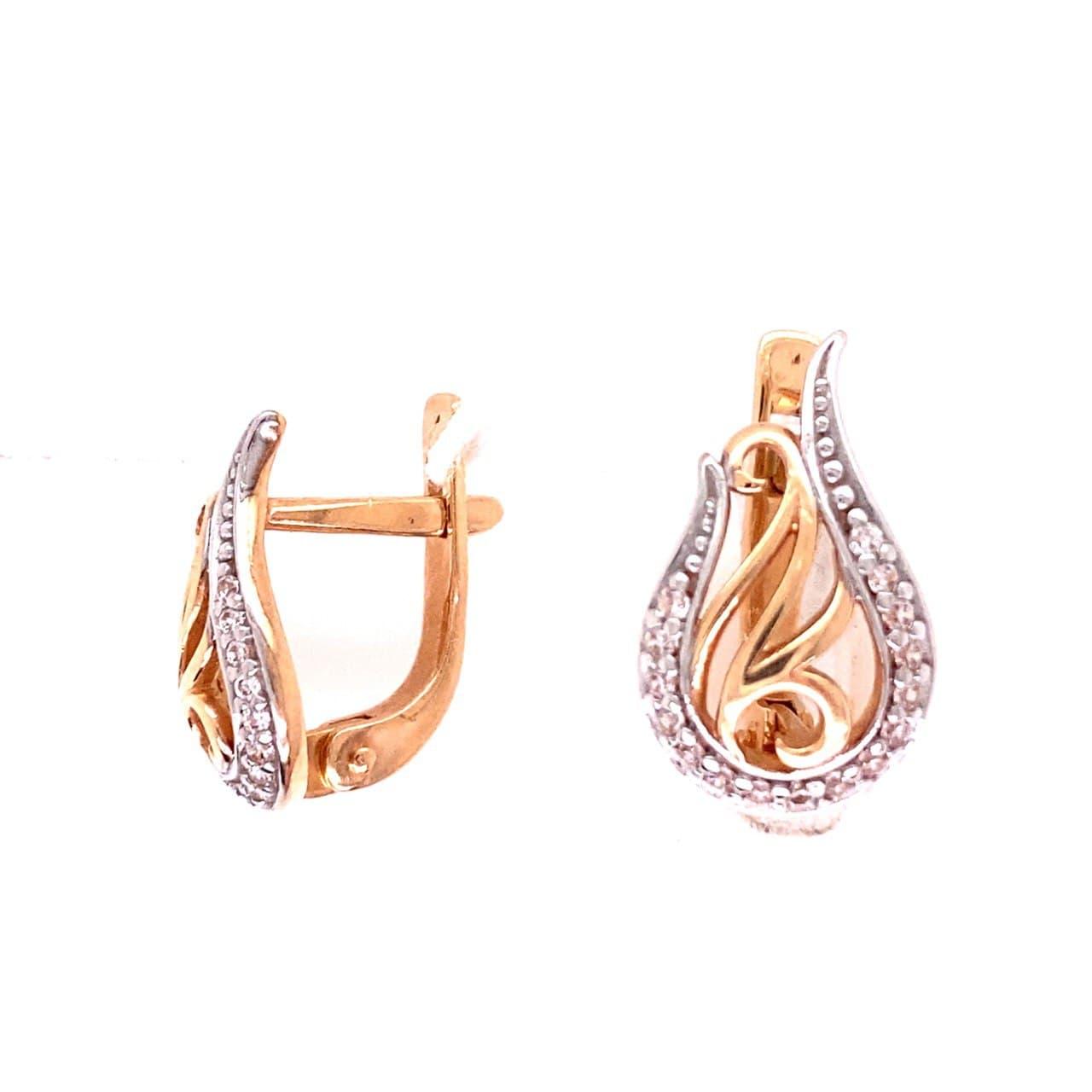 Золотые серьги с фианитом кам2-4027