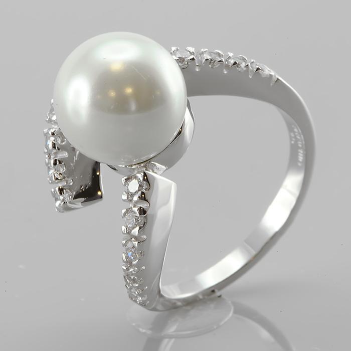 Серебряное кольцо Жемчуг и Фианит арт. r901107 r901107