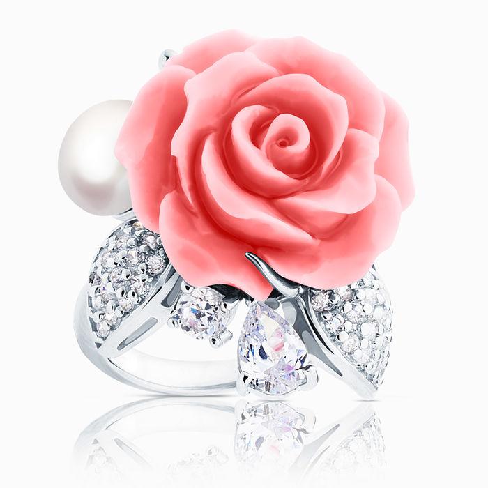Серебряное кольцо Жемчуг, Коралл и Фианит арт. 03066 03066