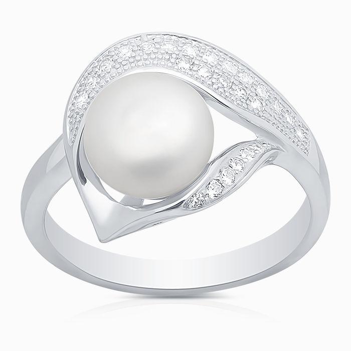 Серебряное кольцо Жемчуг и Фианит арт. 05791 05791