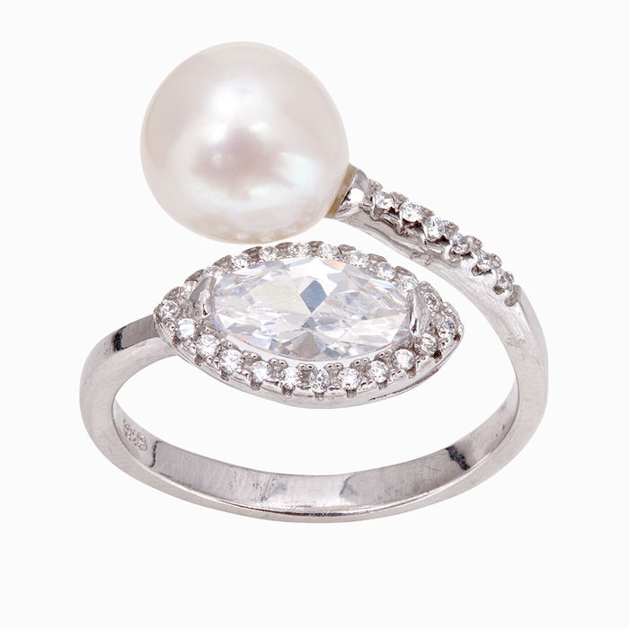 Серебряное кольцо Жемчуг и Фианит арт. 14230 14230