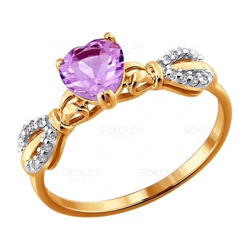 Золотое кольцо Аметист и Фианит арт. 713814 713814