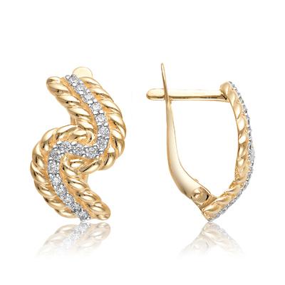 Золотые серьги с фианитом арт. 10-02-0001-23359 10-02-0001-23359