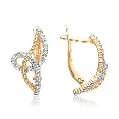 Золотые серьги с фианитом арт. 10-02-0001-23365 10-02-0001-23365