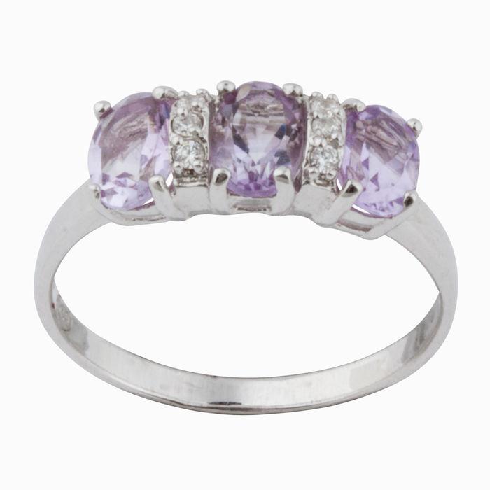 Серебряное кольцо Аметист и Фианит арт. 16000 16000