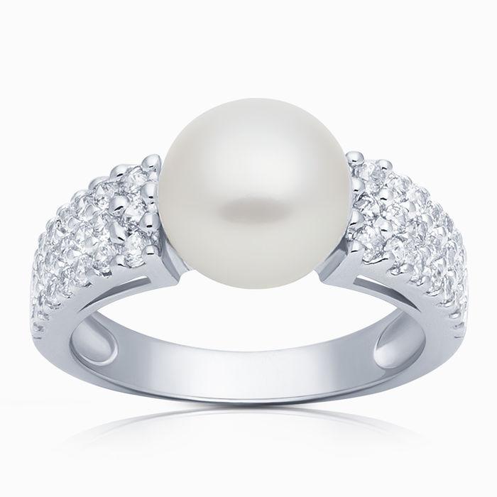 Серебряное кольцо Жемчуг и Фианит арт. 02949 02949