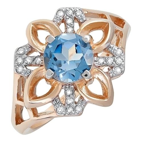 Золотое кольцо Топаз и Фианит арт. кл-505к-тл кл-505к-тл