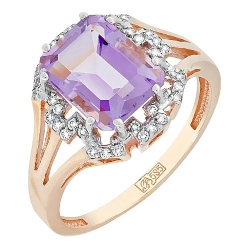 Золотое кольцо Аметист и Фианит арт. кл-476к-а кл-476к-а
