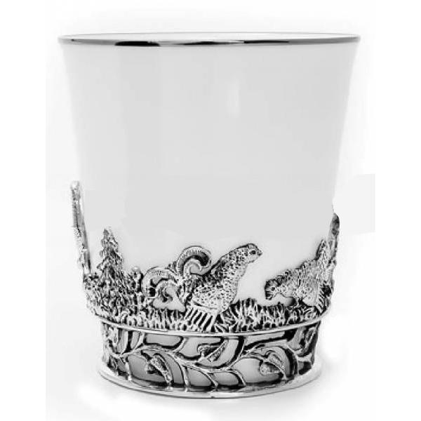 """Серебряная чашка с фарфором """"Тетерв"""" арт. 538чш03006 тетерев 538чш03006 тетерев"""