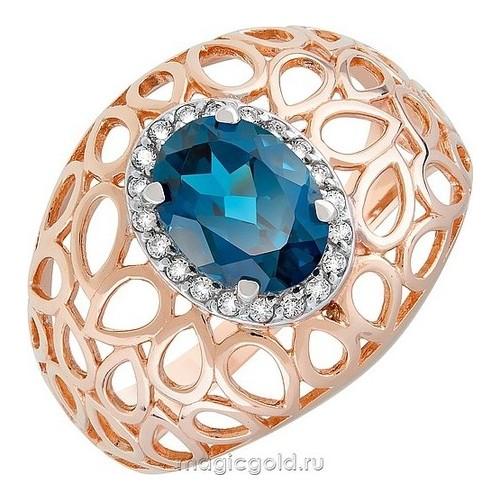 Золотое кольцо Топаз и Фианит арт. кл-528к-тл кл-528к-тл
