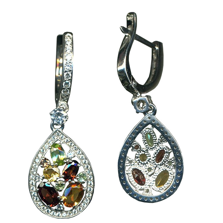 Серебряные серьги с аметистом и цирконием арт. я41010311 я41010311