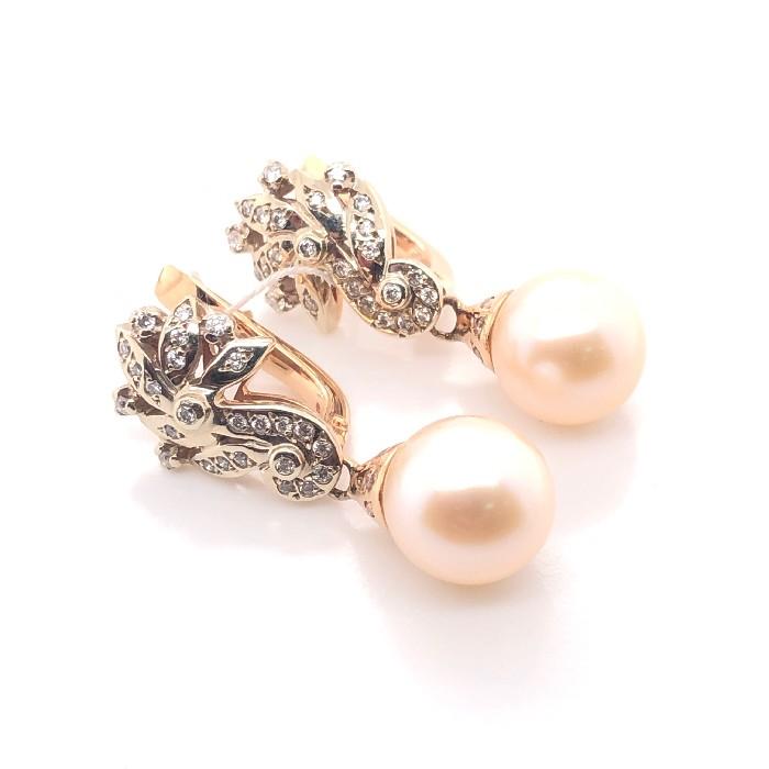 Золотые серьги с бриллиантом и жемчугом арт. 91721831 91721831