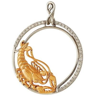 Золотой знак зодиака с фианитом Рак арт. 328-1-523 рак 328-1-523 рак