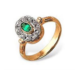 Золотое кольцо Бриллиант и Изумруд арт. 14000154 14000154
