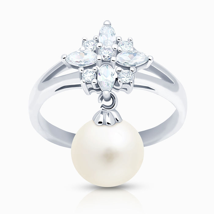 Серебряное кольцо Жемчуг и Фианит арт. 03326 03326
