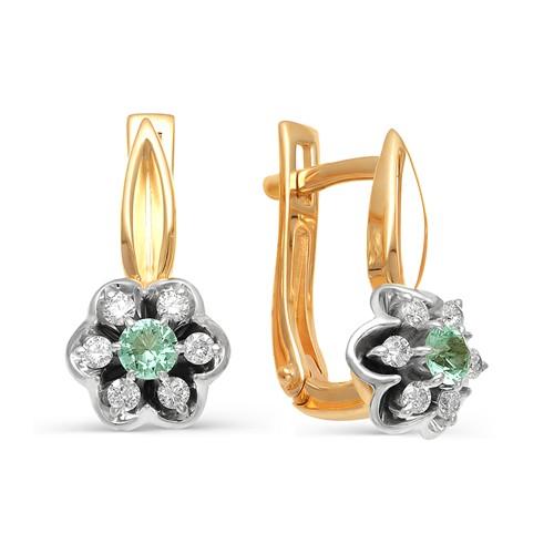 Золотые серьги с бриллиантом и изумрудом арт. 21854-101 21854-101