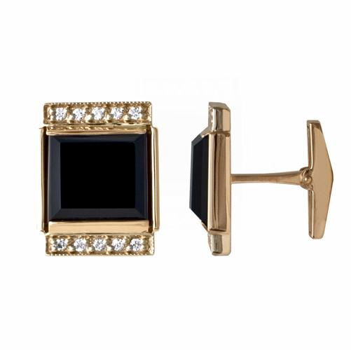 Золотые запонки с агатом и бриллиантом арт. 91921944 91921944