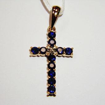 Золотой крест с бриллиантом и сапфиром арт. 810047-15 810047-15