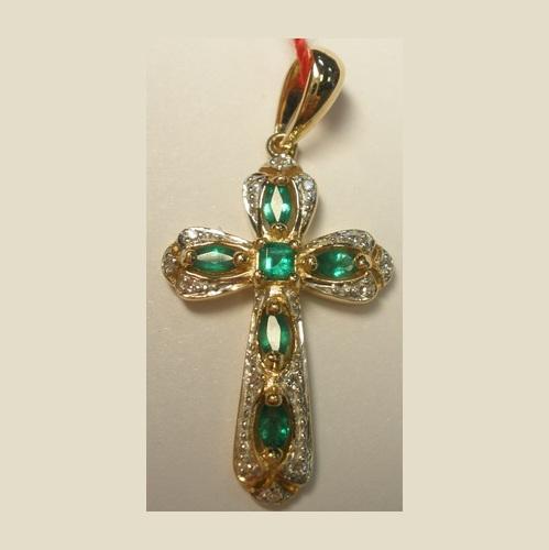 Золотой крест с бриллиантом и изумрудом арт. 320534-15 320534-15