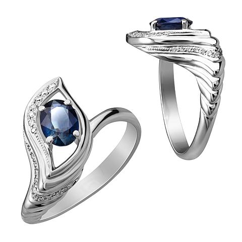 Кольцо из белого золота Бриллиант и Сапфир арт. 1-01996 1-01996