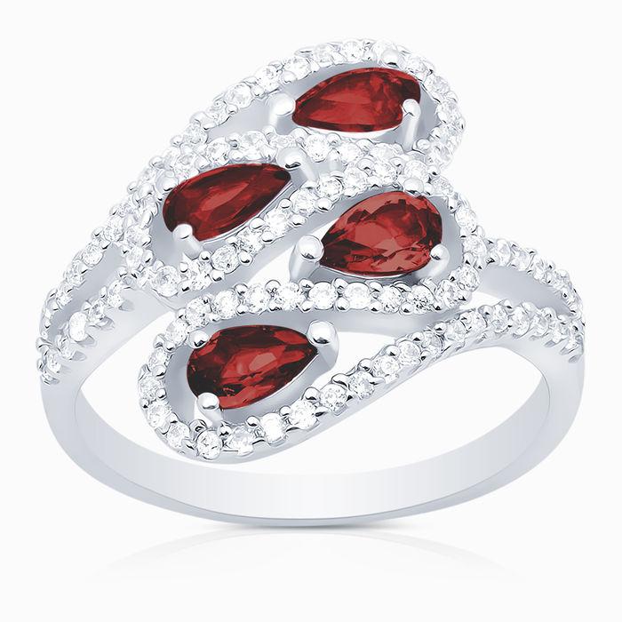 Серебряное кольцо Гранат и Фианит арт. 06007 06007