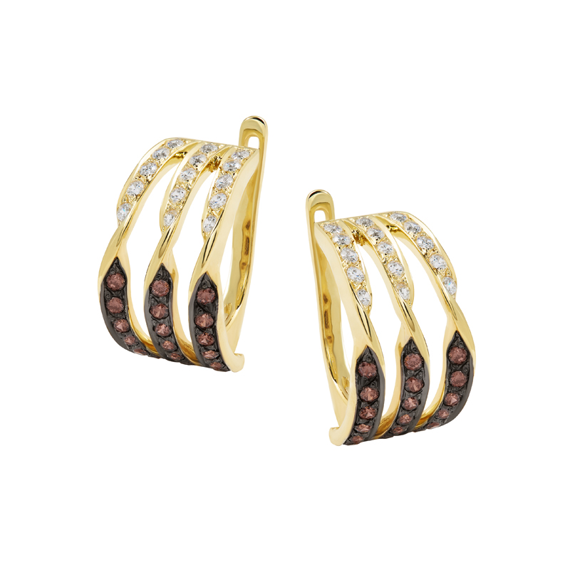 Золотые серьги с фианитом арт. с755 с755