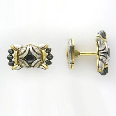 Запонки из лимонного золота с бриллиантом арт. 01н680122l 01н680122l
