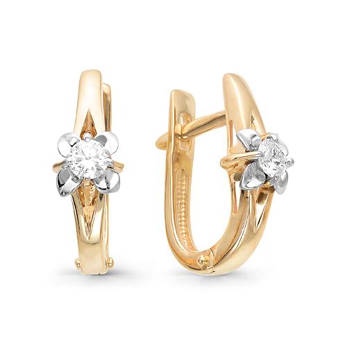 Серьги из белого золота с бриллиантом арт. 2-106-277 2-106-277